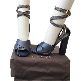 Gucci Blue Python sandals
