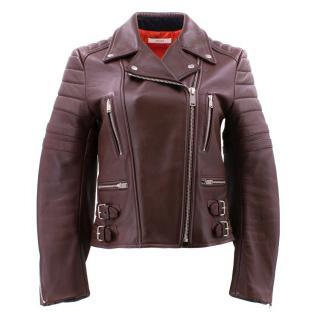 Celine Burgundy Leather Biker Jacket