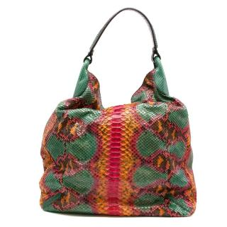 Zagliani Multi-coloured Python Hobo Bag