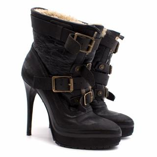 Burberry Black Leather Shearling Buckle Boots