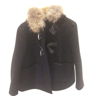 Maje swing coat with fur hood