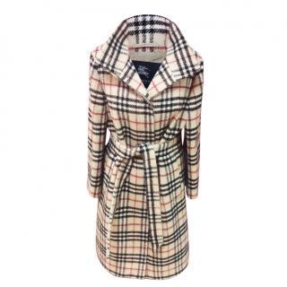 Burberry Check wool full length coat