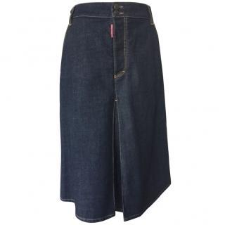 Dsquared2 mid-length denim skirt. Indigo blue