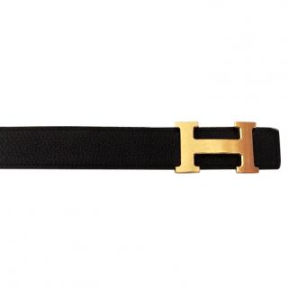 Hermes H reversible black/tan Belt