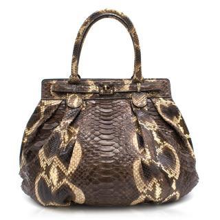 Zagliani Python Puff Shoulder Bag