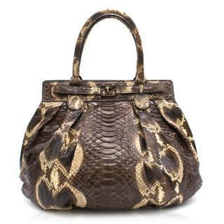 Zagliani Python Puff Shoulder Bag