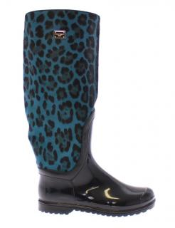 Dolce & Gabbana Black rubber and blue pony leopard print boots