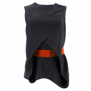 Vionnet Black Silk Top with Red Waist Belt