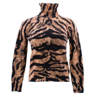Dolce & Gabbana Tiger Pattern Turtle Neck Top
