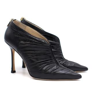 Jimmy Choo Black Pleated Pointed Ankle Boots