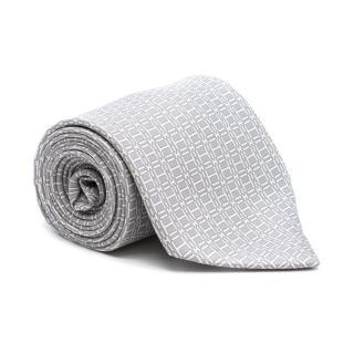 Hermes Grey Logo Hand Folded Tie