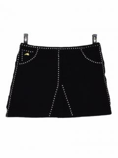 Bella Freud Studded Black Wool Mini Skirt