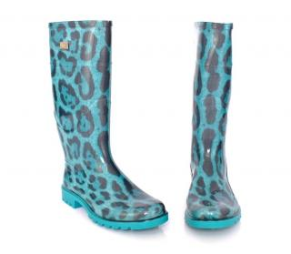 Dolce&Gabbana Blue leopard print wellington rubber boots