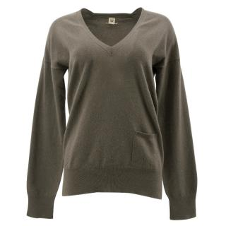 Hermes Green Cashmere V Neck Jumper
