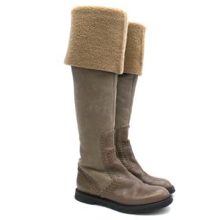 Donna Karan Tall Suede Leather Boots