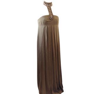 Azzara Khaki Silk and crystal Gown never worn