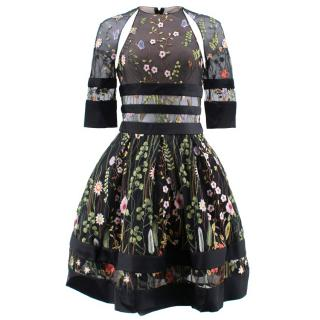 Couturissimo  Sagan Split Sleev Embroidered  Floral Cocktail Dress