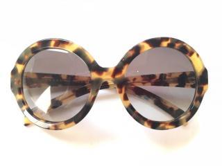 PRADA  havana oversized round frame acetate sunglasses