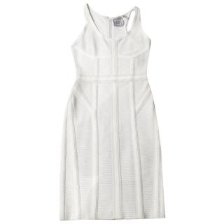Herve Leger white panelled  dress