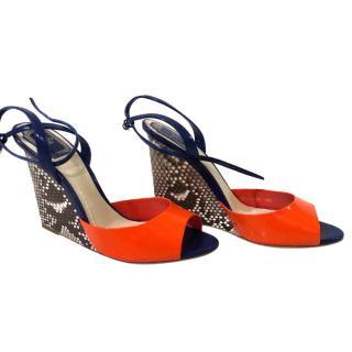 Dior orange patent python wedges