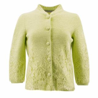 Ermanno Scervino Embroidered Lime Green Cardigan