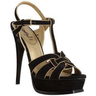 YSL Black & Gold Tribute Sandals