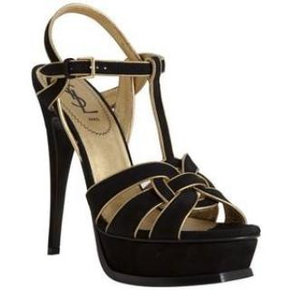 YSL Black & Gold Tribute Sandals