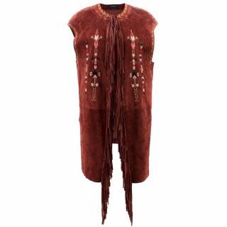 Isabel Marant Maxime Fringed Embroidered Suede Vest