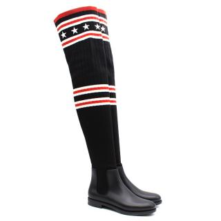 Givenchy Storm Rainboots in Rubber and Knitted Fabric