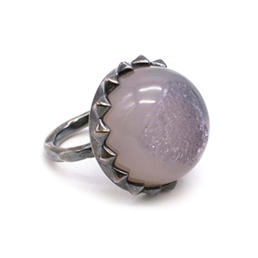 Bottega Veneta Natural Stone Ring In Sterling Silver
