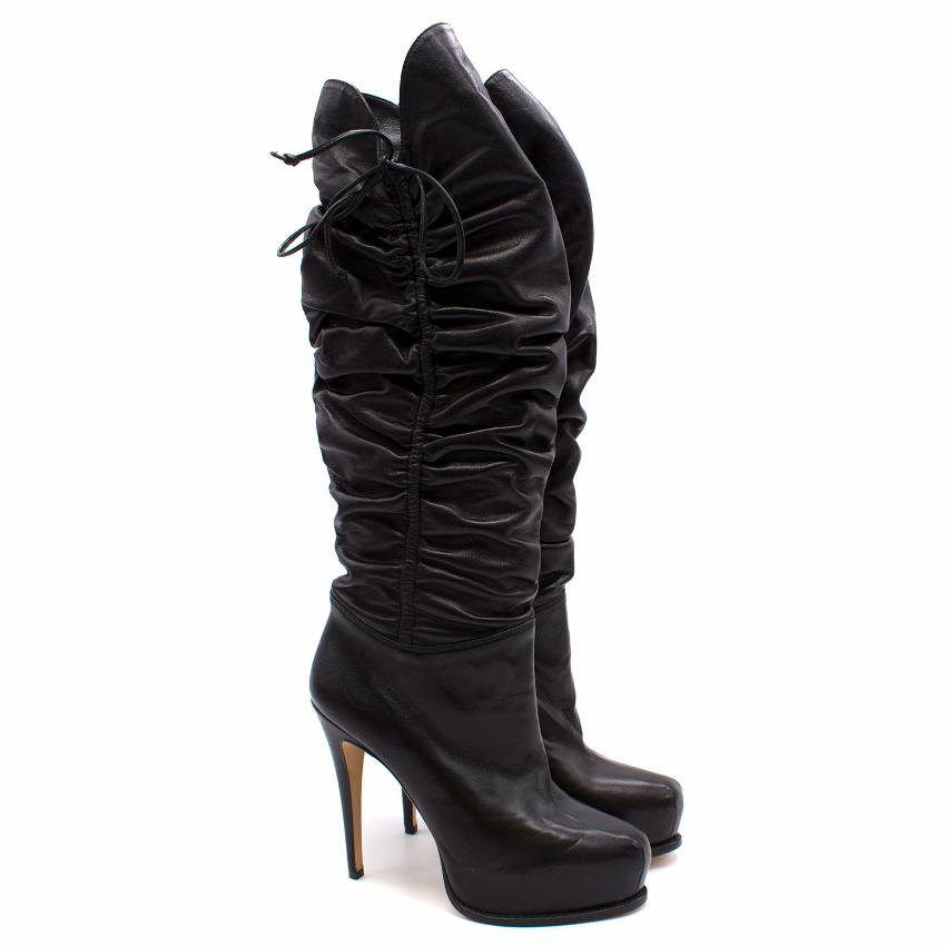 Brian Atwood Black Matrix Leather Boots
