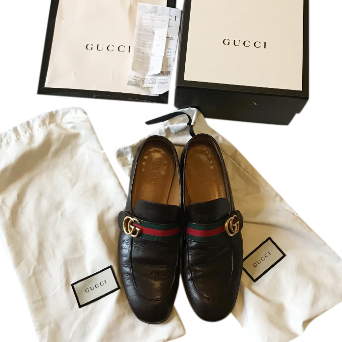 3a948fd656c Gucci Brown Donnie Gg Mens Leather Loafers Size Uk 9125799