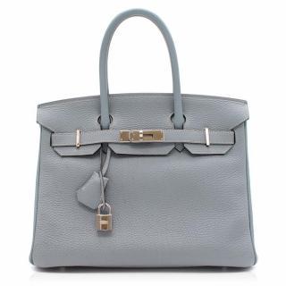 Hermes Blue Lin Fjord Leather 30CM Birkin Bag