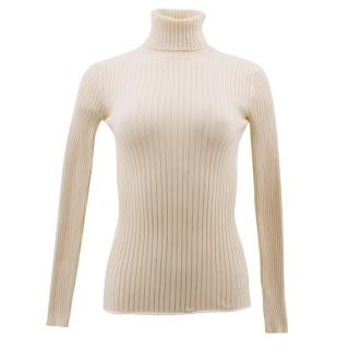 Louis Vuitton Cream Ribbed Knit Turtleneck Jumper