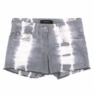 Isabel Marant Grey Patterned Denim Shorts