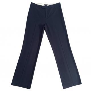 CLUB MONACO black straight leg viscose blend stretchy trousers