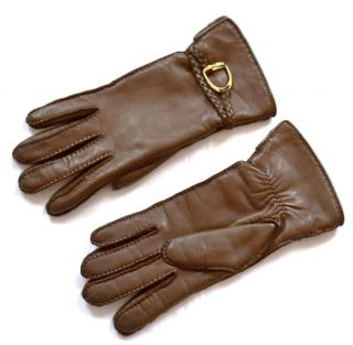 Ralph Lauren Collection equestrian brown leather cashmere lined gloves