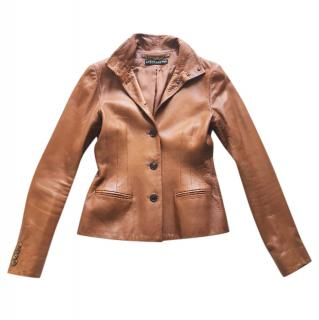 RALPH LAUREN Black Label tan leather fitted jacket