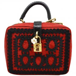 Dolce Gabbana red & black crochet snakeskin box bag
