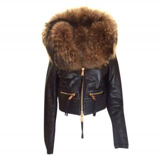 Dsquared2 leather/fur oversized collar jacket