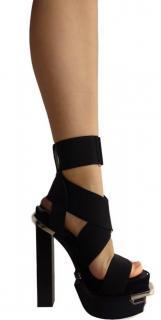Versace runway black platform sandals