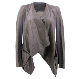 Donna Karan Grey Asymmetric Leather Jacket