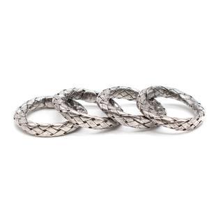 Bottega Veneta Rings in Intrecciato Silver
