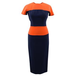 Victoria Beckham Pleat Sleeve Panelled Fitted Dress