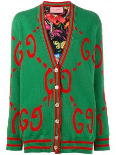 Gucci Ghost Reversible Wool Cardigan.