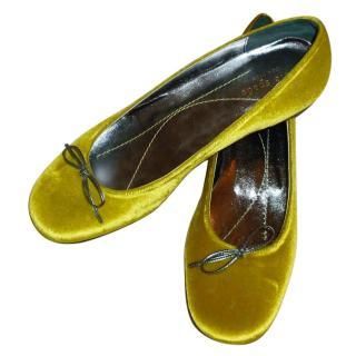 Kate Spade Yellow Velvet Ballet Flats