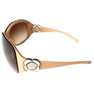 CHANEL Camelia  beige frame sunglasses