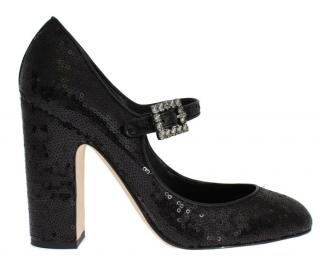 Dolce & Gabbana Black sequinned Mary Jane pumps