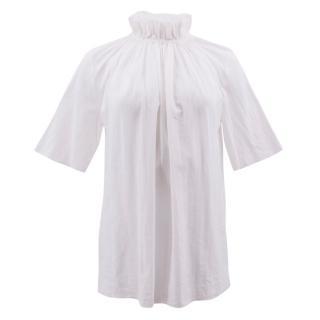 Stella Mccartney Linette White Ruffle-Neck Top