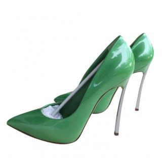 Casadei green patent blade pumps